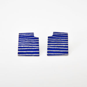 'Lines in Motion' Blue Stud Earrings