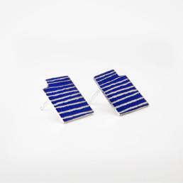 'Lines in Motion' Blue Stud Earrings