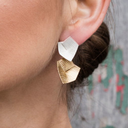 'Lines in Motion' Slver and Gold Drop Earrings