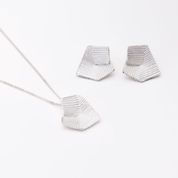 'Lines in Motion' Silver Earrings and Pendant Small