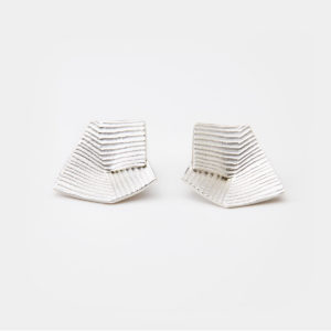 'Lines in Motion' Silver Earrings, Large
