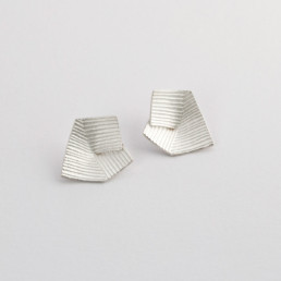 'Lines in Motion' Silver Earrings Large