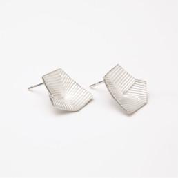 'Lines in Motion' Silver Earrings Medium