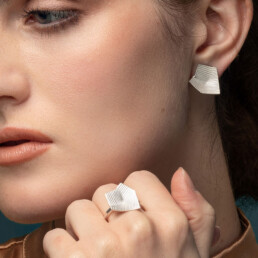 'Lines in Motion' Silver Earrings, Medium