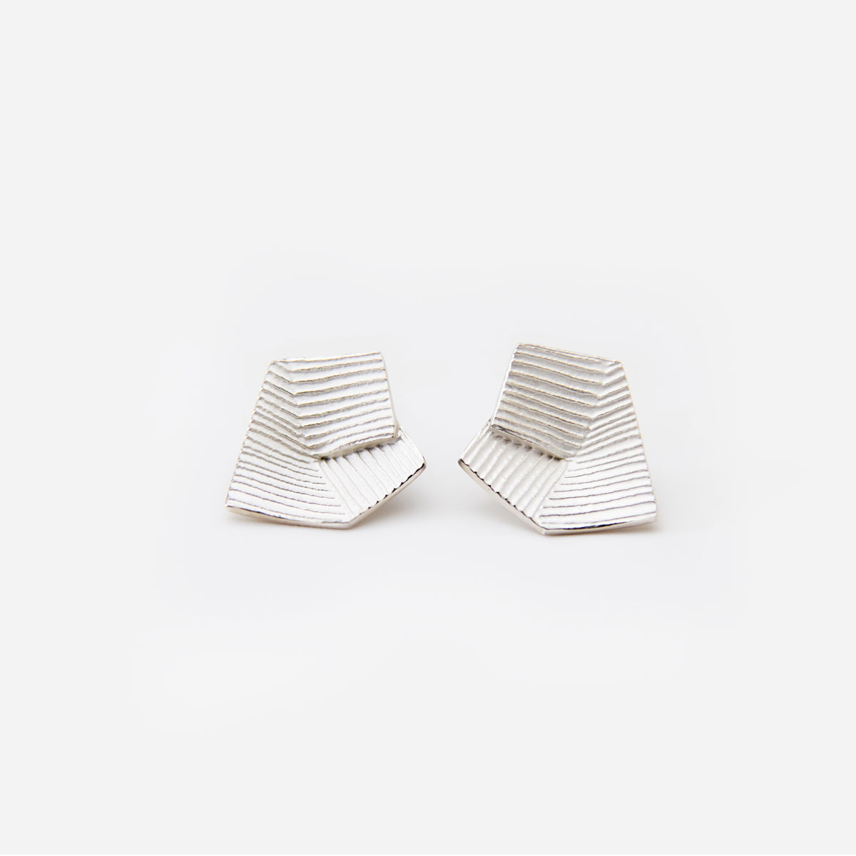 'Lines in Motion' Silver Earrings, Small