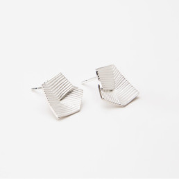 'Lines in Motion' Silver Earrings Small