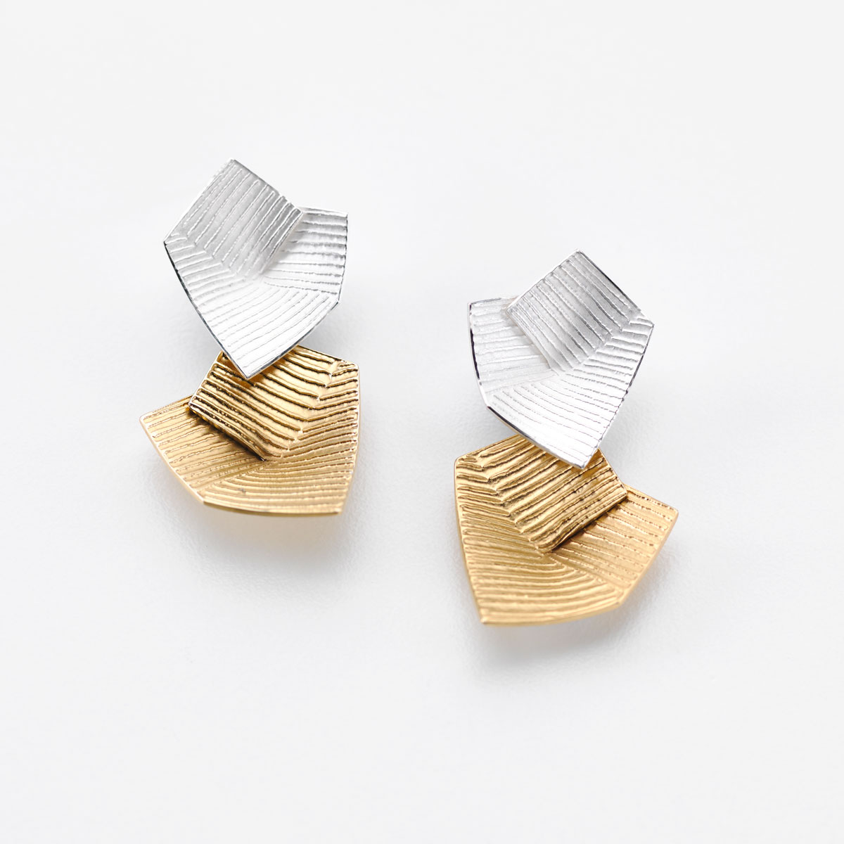 'Lines in Motion' Silver and Gold Drop Earrings