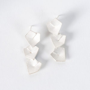 'Lines in Motion' Silver Triple Drop Earrings