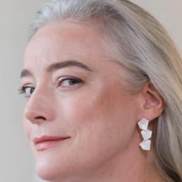 'Lines in Motion' Silver Triple Drop Earrings