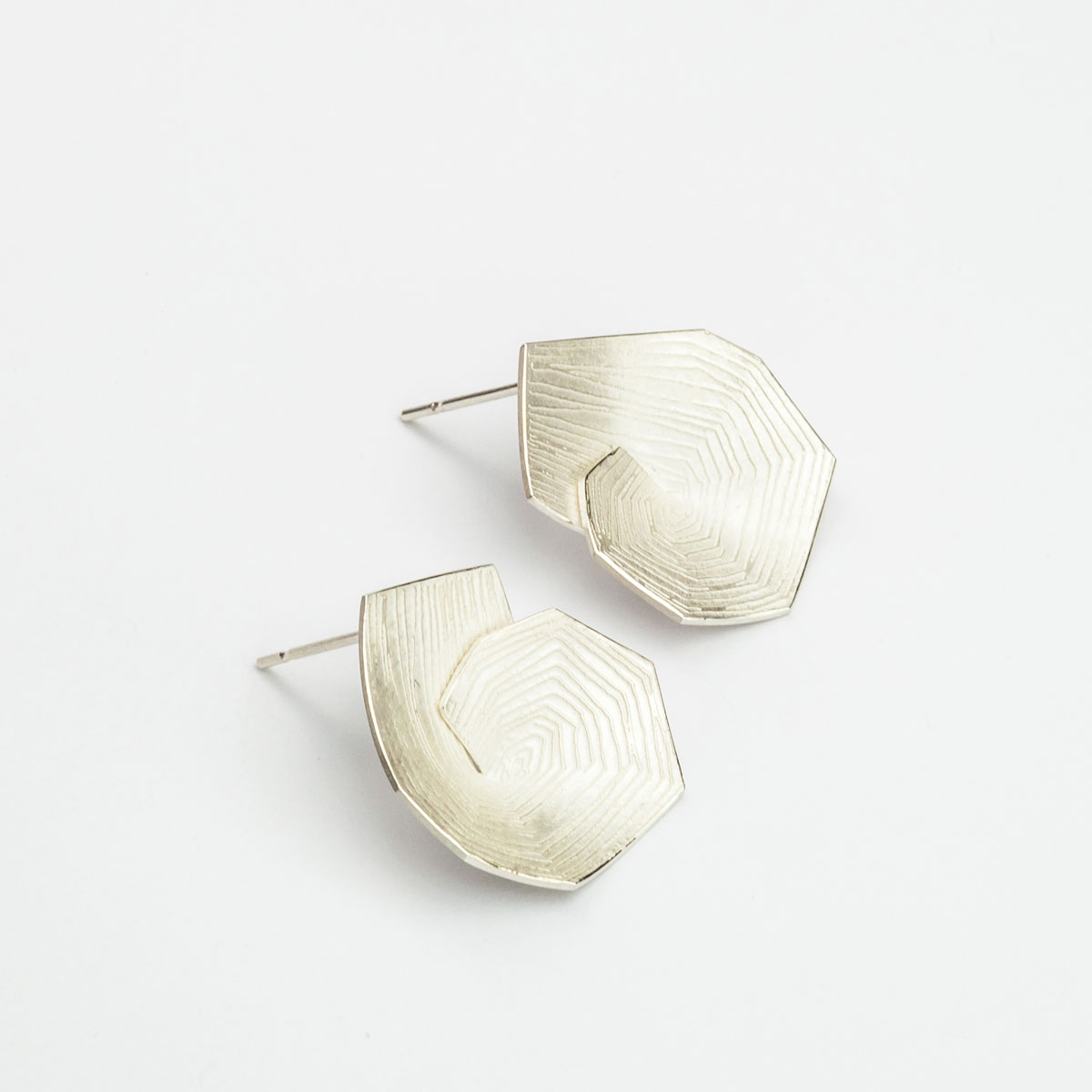 'Lines in Motion' Spiral Silver Earrings