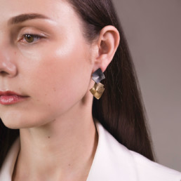 'Lines in Motion' Black and Gold Drop Earrings