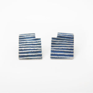 'Lines in Motion' Blue-Grey Stud Earrings