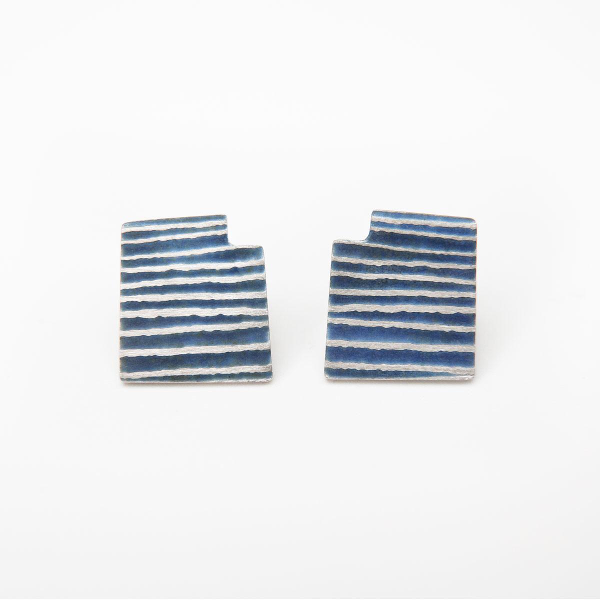 'Lines in Motion' Blue-Grey Stud Earrings