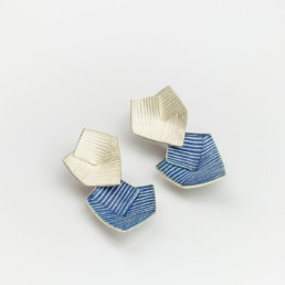'Lines in Motion' Drop Earrings (Blue Grey)