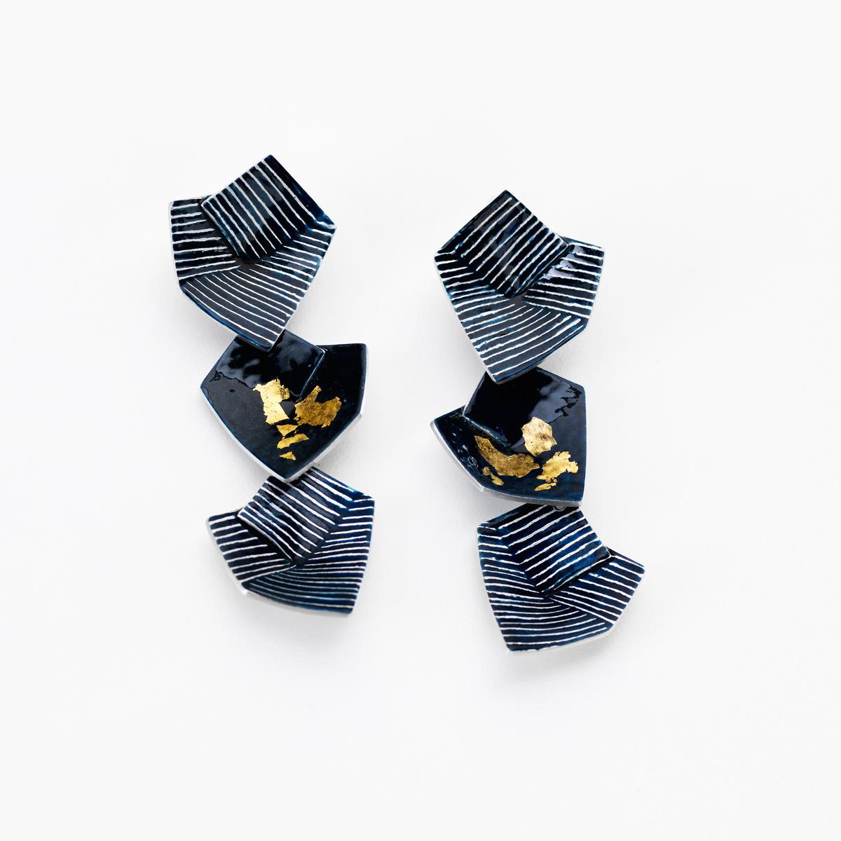 'Lines in Motion' Triple Drop Earrings Large (Black)