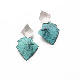 'Lines in Motion' Turquoise Drop Earrings Large