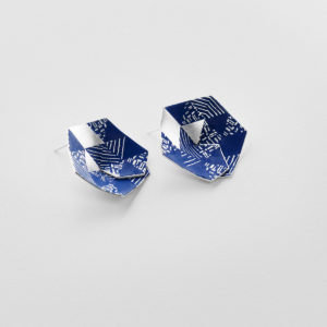 'Weave' Blue Hexagon Earrings