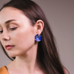 'Weave' Blue Hexagon Earrings