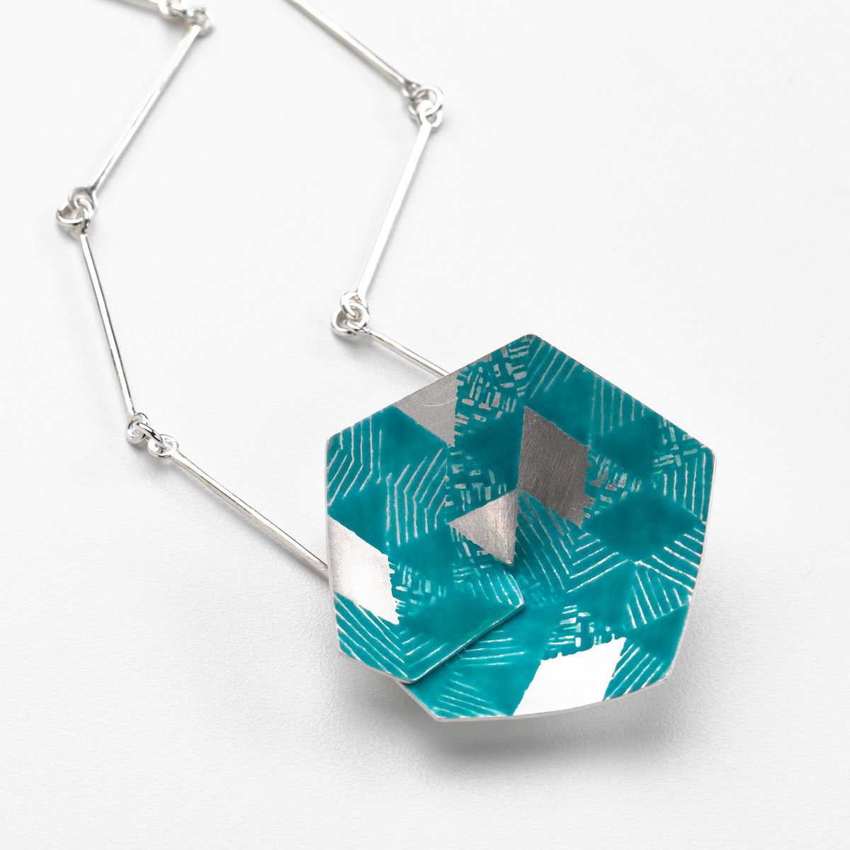 'Weave' Hexagon Pendant Large (Turquoise)
