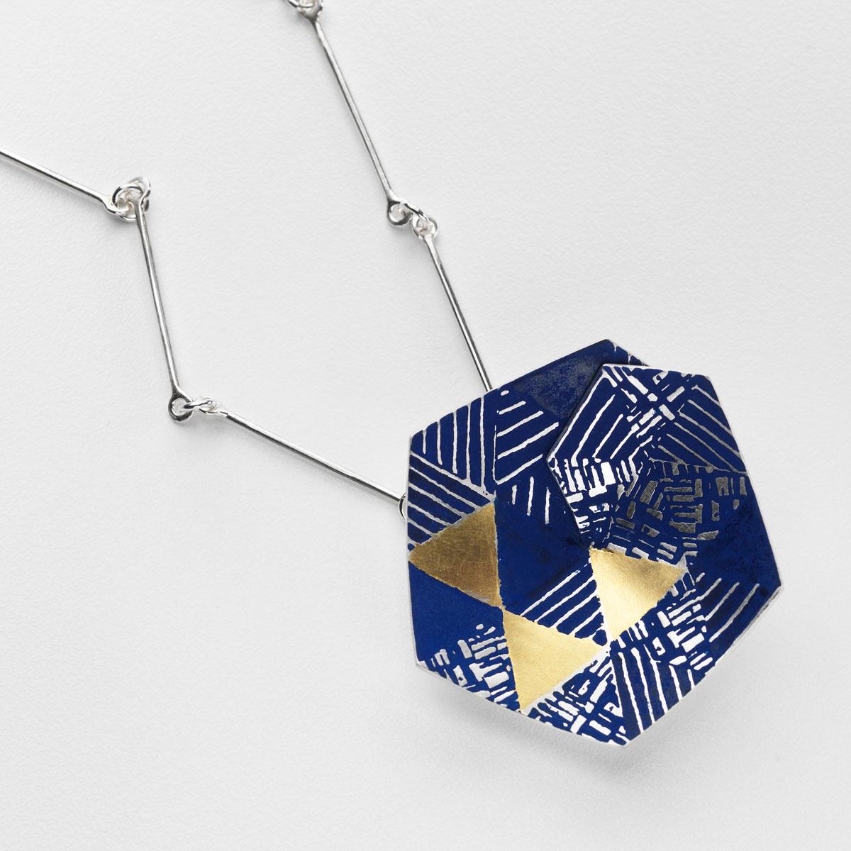 'Weave' Hexagon Pendant Large (Blue)