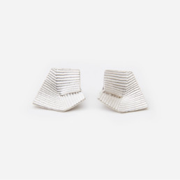 'Lines in Motion' Silver Earrings, Medium