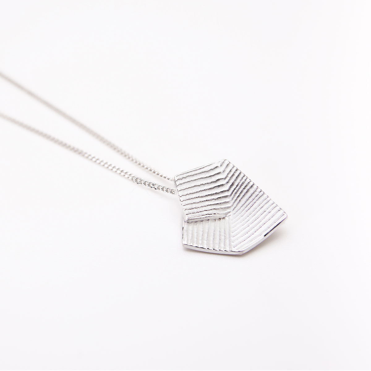 'Lines in Motion' Silver Pendant, Medium