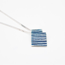 'Lines in Motion' Blue Grey Pendant Small