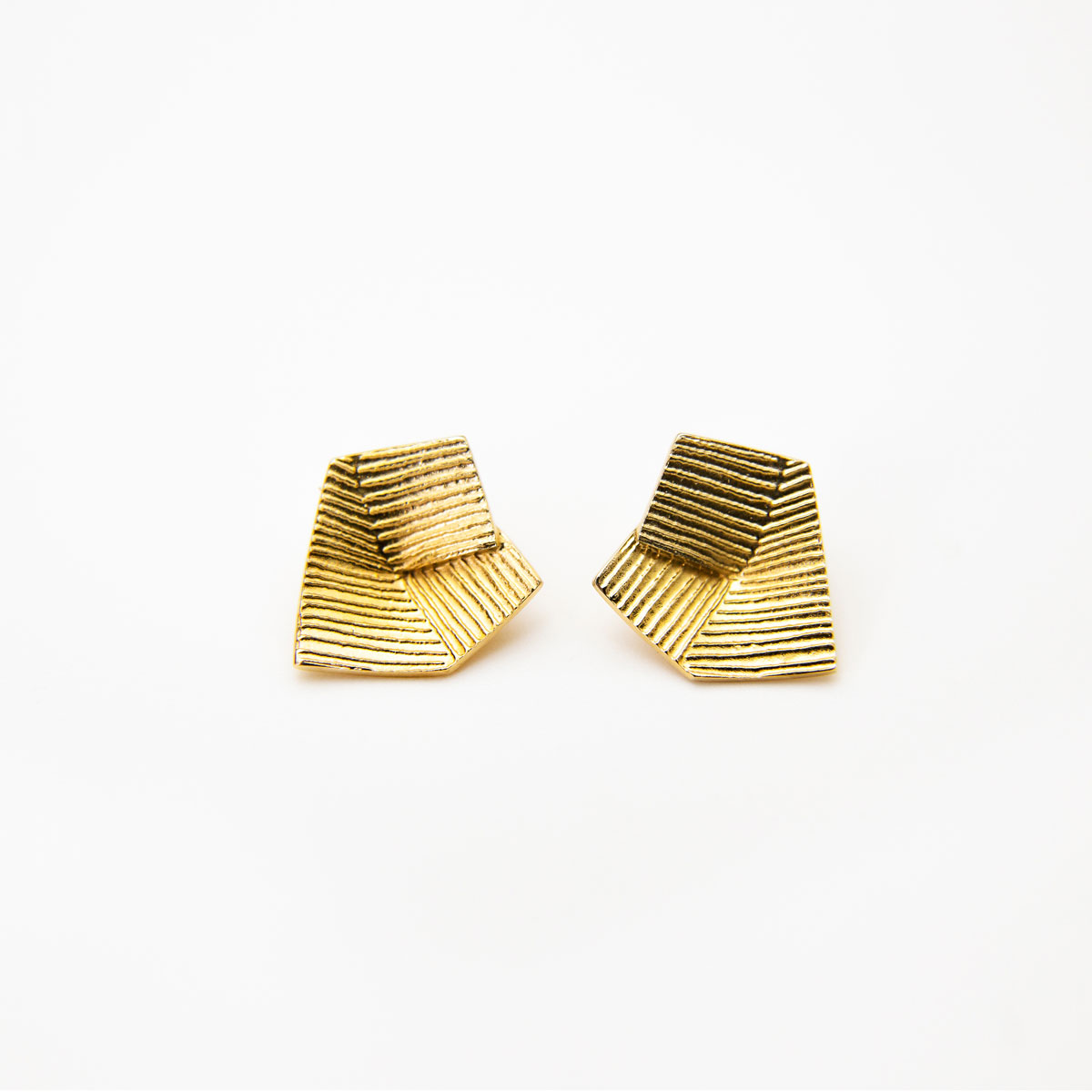 'Lines in Motion' Gold Earrings, Small