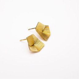 'Lines in Motion' Gold Earrings Small