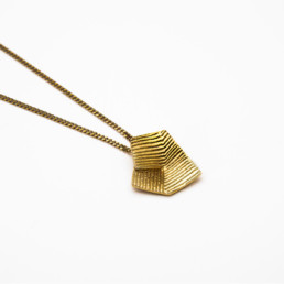 'Lines in Motion' Gold Pendant Small