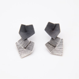 'Lines in Motion' Silver and Black Drop Earrings
