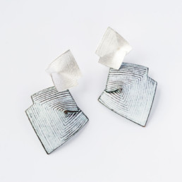 'Lines in Motion' Silver and White Drop Earrings, Large