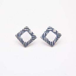 'Weave' Blue-Grey Earrings, Small