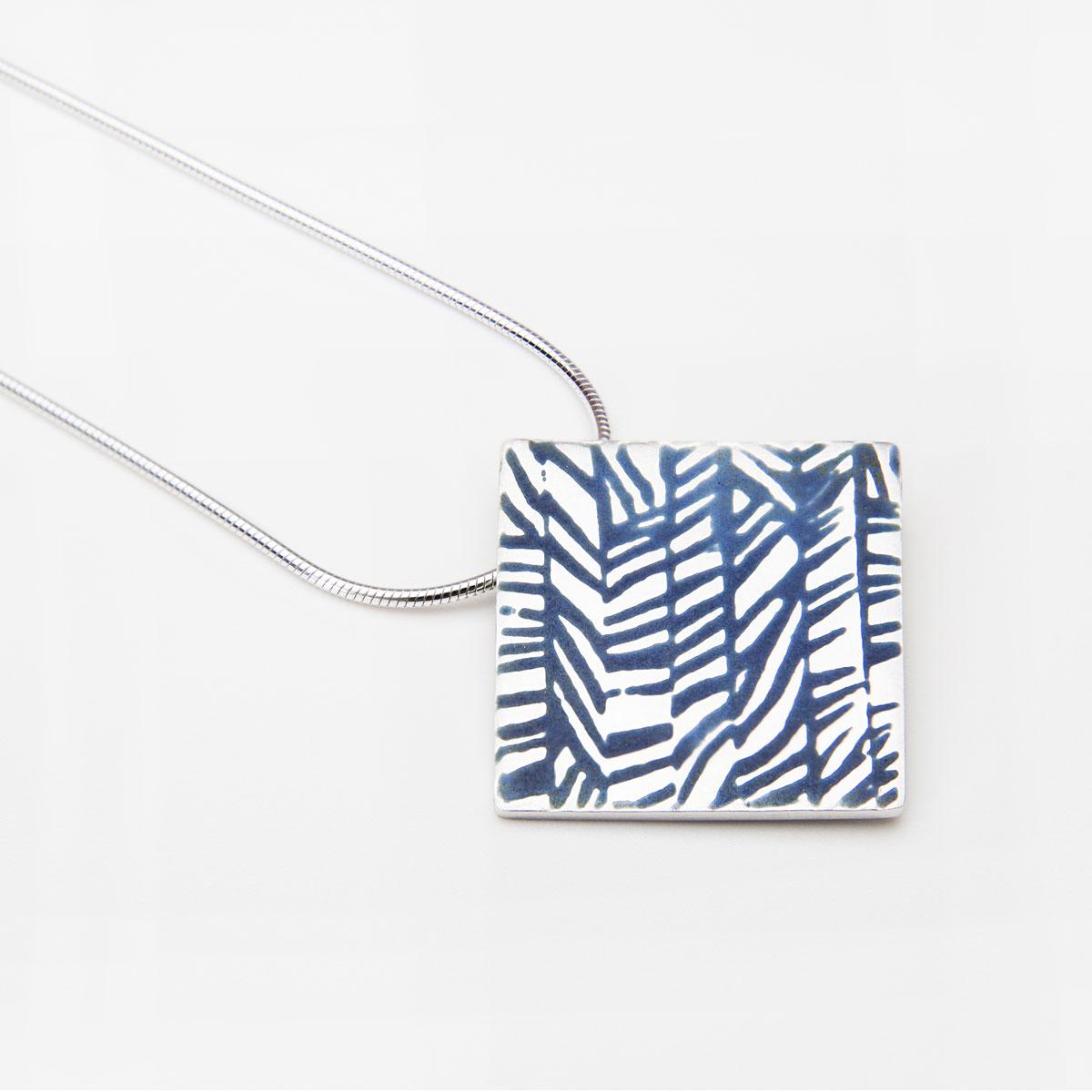 'Weave' Blue-Grey Square Pendant