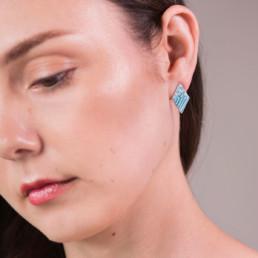 'Weave' Turquoise Stud Earrings