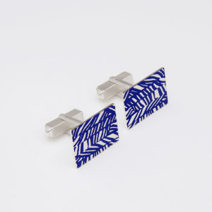 'Weave' Deep Blue Rectangular Cufflinks