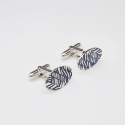 'Weave' Slate-Grey Ellipse Cufflinks