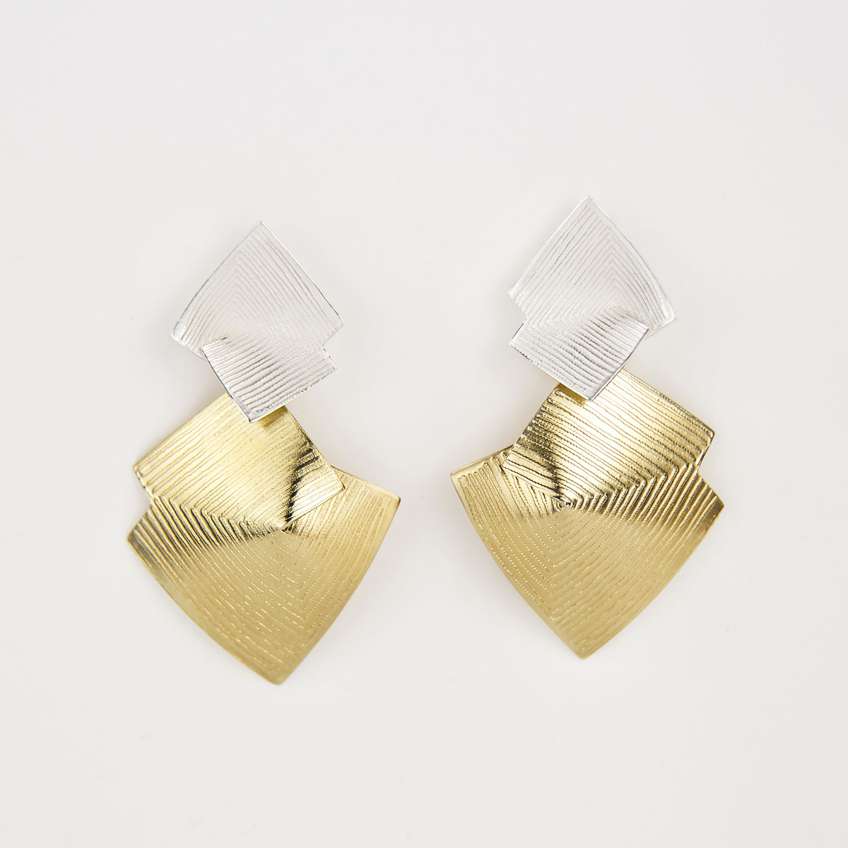 'Lines in Motion' Silver and Gold Drop Earrings, Large