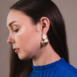 'Lines in Motion' Silver and Gold Drop Earrings Large