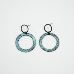 'Lines in Motion' Turquoise Circular Earrings, Large