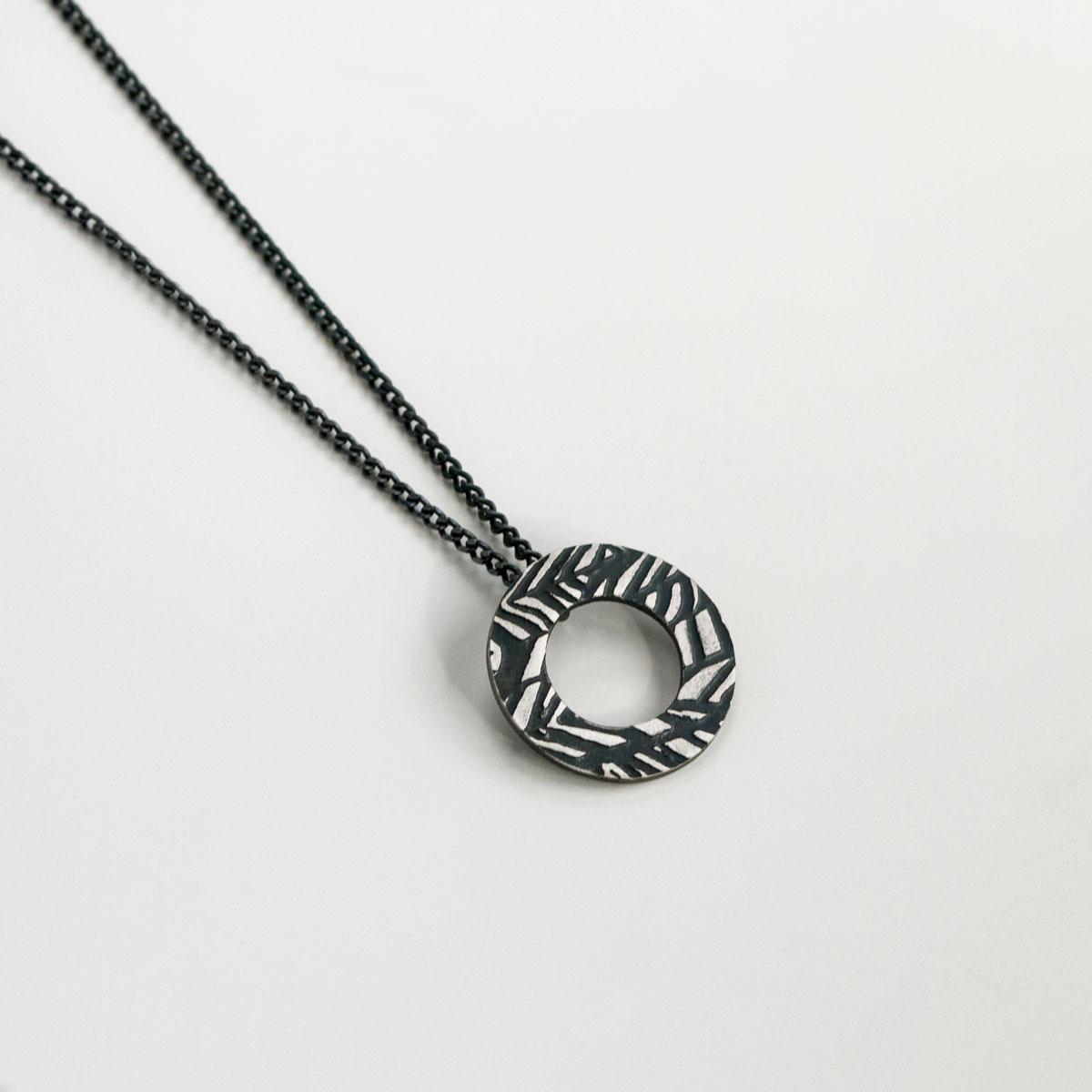 'Weave' Black Circular Pendant
