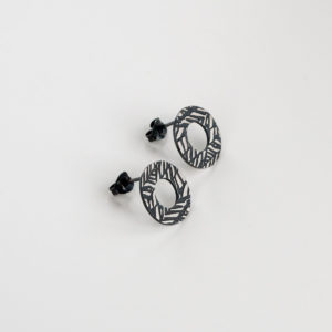 'Weave' Black Circular Stud Earrings