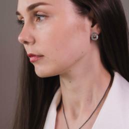 'Weave' Black Circular Stud Earrings