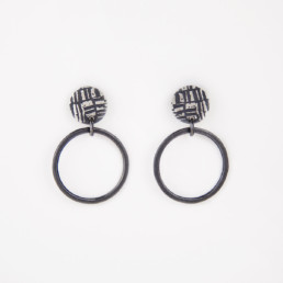 'Weave' Black Double Circle Earrings