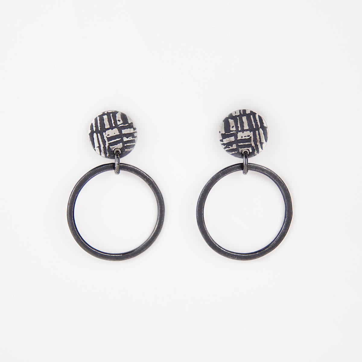 'Weave' Black Loop Earrings