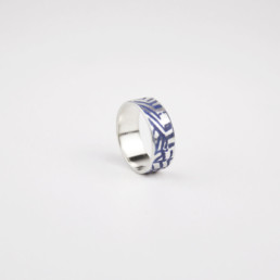 'Weave' Blue-Grey Silver Ring