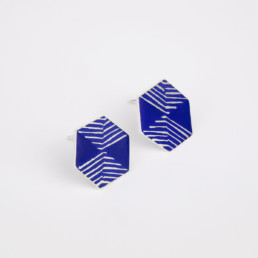 'Weave' Blue Hexagon Stud Earrings