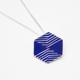 'Weave' Blue Hexagonal Pendant, Medium