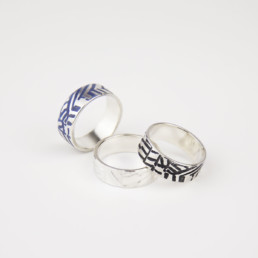'Weave' Grey-Blue Silver Ringack Ring