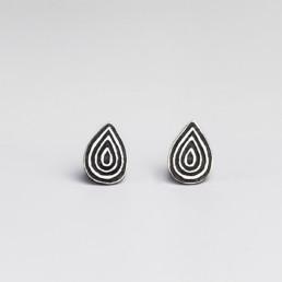 'Lines in Motion' Black Teardrop Stud Earrings